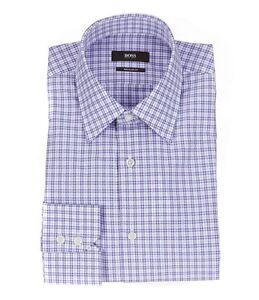 HUGO-BOSS-ENZO-US-BLACK-LABEL-DRESS-SHIRT-POINT-REGULAR-FIT-PURPLE-CHECKED-NWT