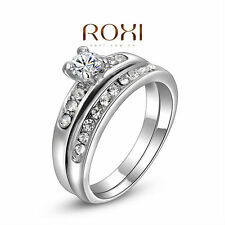 Delicate Platinum/gold Plated Shinning Wedding set Double couple finger ring