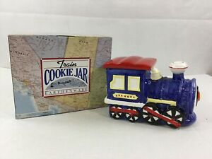 Earthenware-Train-Cookie-Jar-Musical-NEW-Ceramic-Lift-Lid-For-Sounds-10x7x5-Blue
