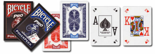 large index Pro Bicycle PRO Poker Deck Either in Blue or Red Playing Cards