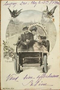 Car-Very-Early-Automobile-amp-Couple-1902-Postcard-Vienna-Wien-Photo-Montage