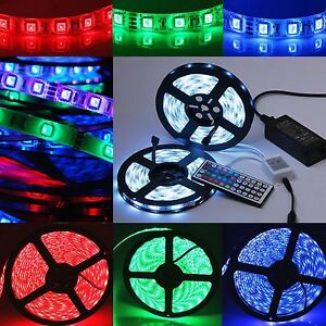 Bande-LED-RGB-5M-5050-SMD-Flexible-Stripe-Lumieres-Alimentation-44key-Controleur
