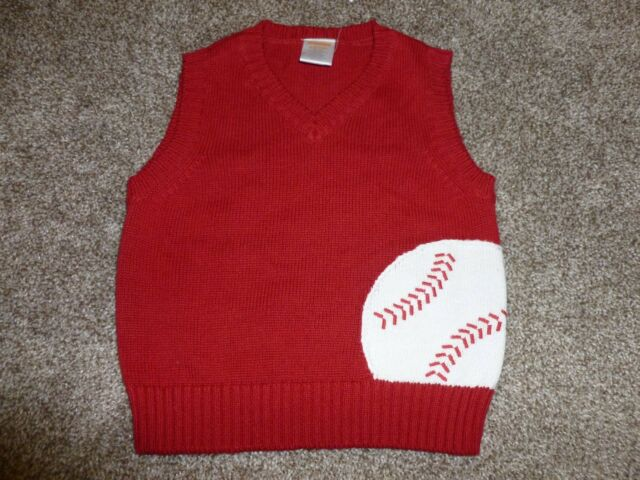 NEW Baby Boys Gymboree Red Baseball Sweater Vest Size 6-12 months mos Sports NWT