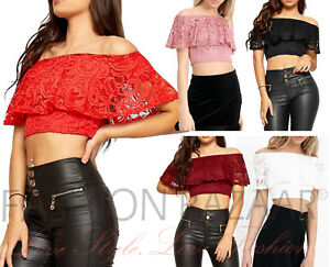 Floral-Lace-Crop-Top-Off-Shoulder-Bardot-Frill-Layer-Sexy-Xmas-Party-Top-Cheap