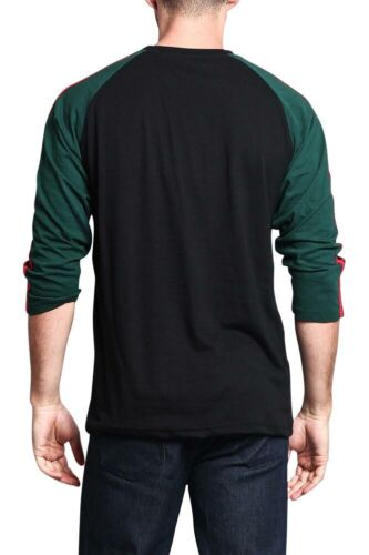 Men/'s Baseball T Shirt with Stripes raglan 3//4 length sleeve Jersey   TS7163-F7E
