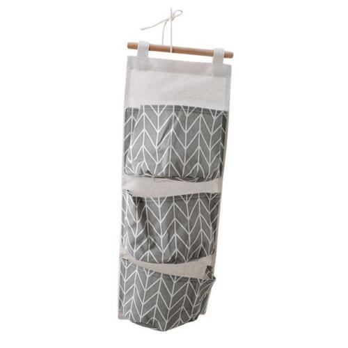 3 Pockets Wall Hanging Linen Storage Bag Door Closet Sundries Pouch Organizer QK