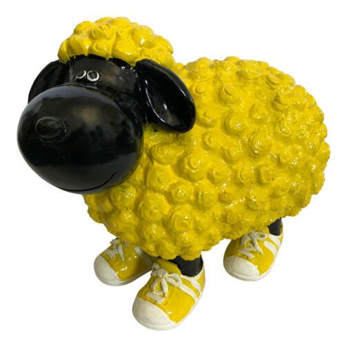 groß Tiere Gartendeko Gartenfiguren schwarz gelbes Schaf in Turnschuhen