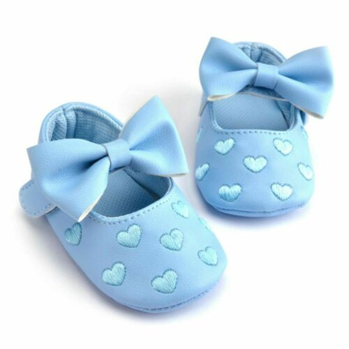 Baby Infant Toddler Newborn Girls Soft Shoes Sole PU Leather 0-18mths