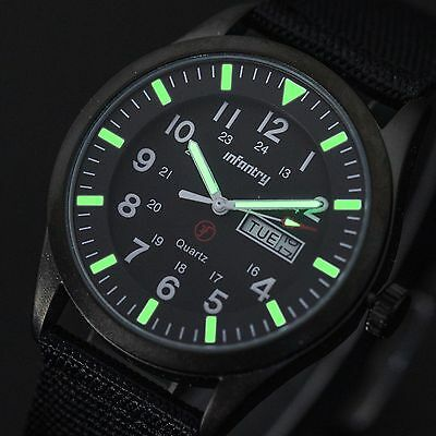 INFANTRY Mens DATE DAY Quartz Wrist Watch NIGHTVISION Army Military Sport Black