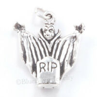 3d Dracula Vampire 925 Sterling Silver Halloween Pendant Charm Tombstone Solid