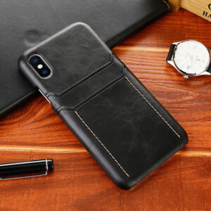 For iPhone X 8 6 7 Plus 6 Leather Wallet Card Slot Pocket Holder Slim Case Cover