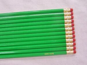 Details About 12 Hexagon Bright Green Personalized Pencils