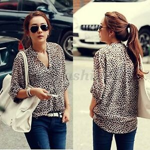 UK-8-24-Ladies-Womens-Leopard-Print-Top-Chiffon-T-Shirt-Long-Sleeve-Blouse-Tops