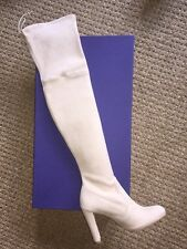 $798 NIB Stuart Weitzman Highland OTK Over The  Knee Ivory Buff Boots Suede 7.5