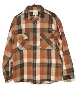 Cabela-s-Rockabilly-Cotton-Plaid-Flannel-Long-Sleeve-Button-Up-Shirt-Men-039-s-L