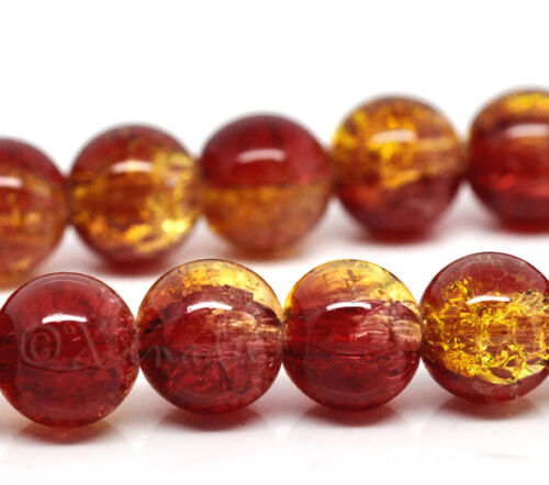 Red Gold Wholesale 10mm Round Crackle Glass Beads G2250-20 50 Or 100PCs