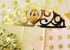 Gold Princess Tiara Baby Shower Birthday Party Cake Top Topper Q47031