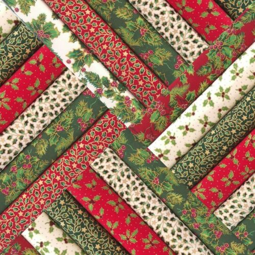 Holly Natale In Tessuto Patchwork Quadrati Charms Rosso Verde Avorio metallica Quilting