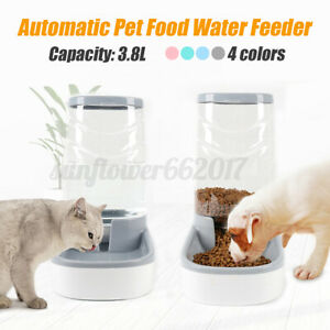 3.8L Large Automatic Pet Food Drink Dispenser Dogs Cat Feeder Water Bowl Dish