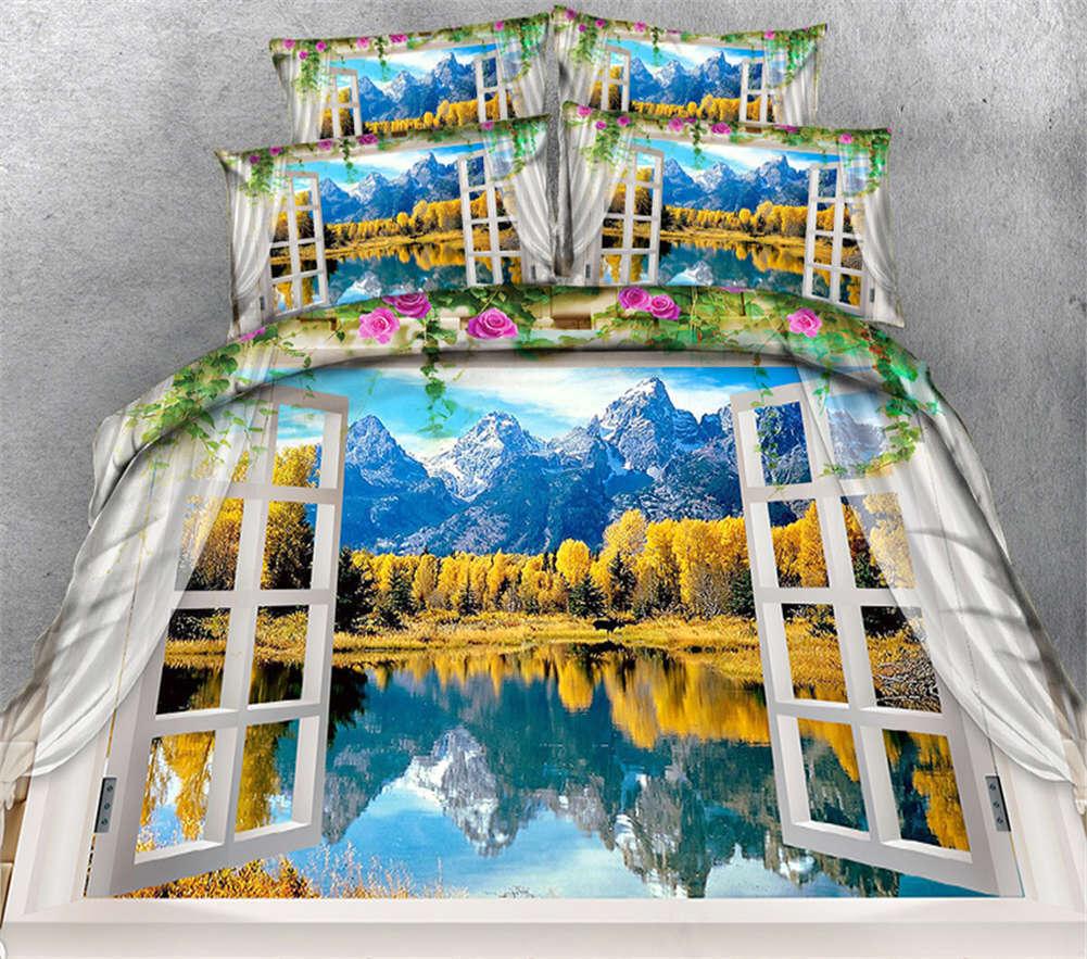 Beautiful Reflection 3D Printing Duvet Quilt Doona Cover Pillow Case Bedding Set