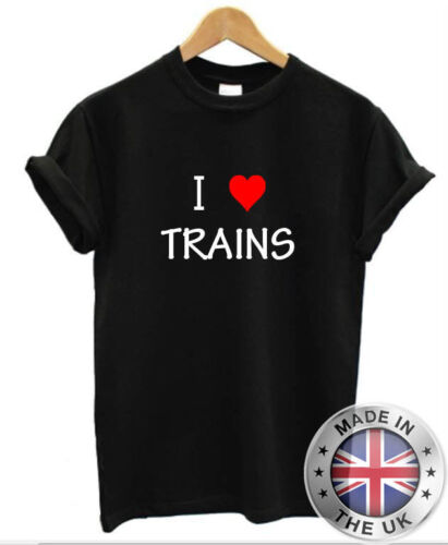 I Love Heart TRAINS T-Shirt Mens Womens