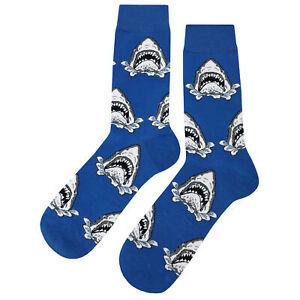 NWT Shark Attack Dress Socks Novelty Men 8-12 Blue Fun Sockfly