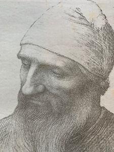 Alphonse legros engraving lithograph tete d' étude bearded man beard