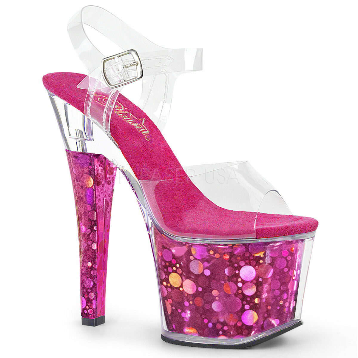 Pleaser Radiant - 708BHG Fuchsia Hologramme Plate-Forme Pole Dancing Sandales Chaussures