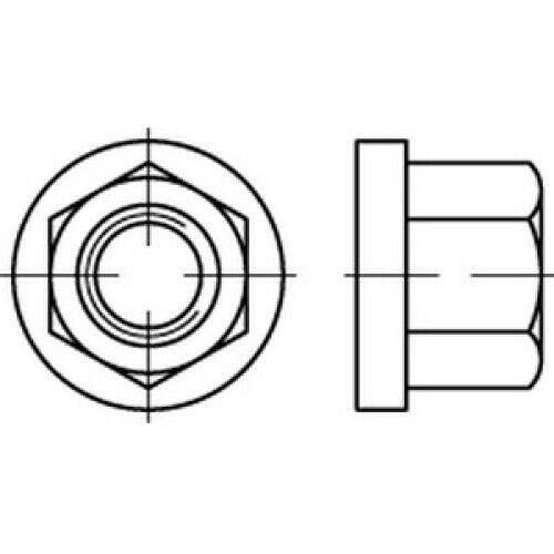 25 x CAB FASTENING Sechskantmuttern mit Bund,mit einer Höhe von 1,5d DIN 6331 10