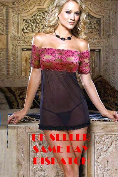Womens Sexy Black & Pink Lace Babydoll Outfit Lingerie Nightwear+g-string 5017uk