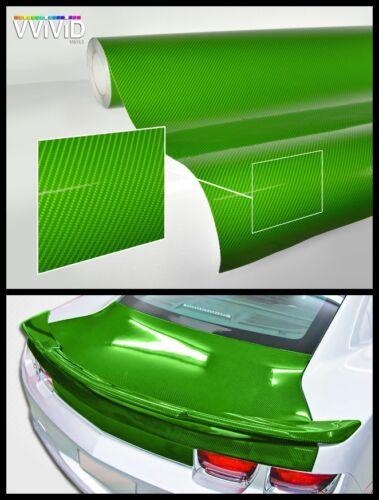 green carbon gloss 7.5Mx1.53M authentic look tech art 3 layer car vinyl wrap DIY