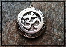 "Silver Circle OHM PHOTO LOCKET on sterling 18"" chain necklace spiritual Buddhist"