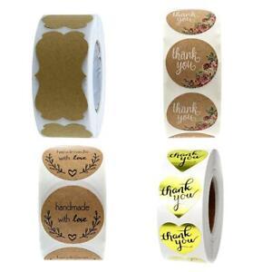 500X-roll-Kraft-Paper-Label-Seal-Thank-you-Stickers-Scrapbook-Wedding-Bakery-Gif