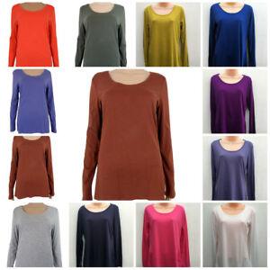 Ex-M-amp-S-Women-039-s-Cotton-Modal-Long-Sleeved-T-Shirt-Top
