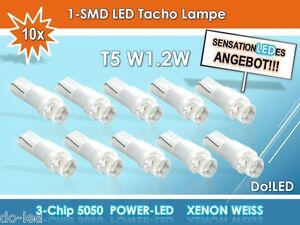 10 Stück Tachobeleuchtu<wbr/>ng Instrumentenbe<wbr/>leuchtung LED T5 W1.2W XENON WEISS 12V k