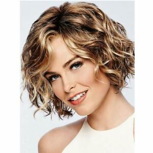 Short Wavy Bob Wig For White Women Brown Mixed Blonde Synthetic Heat Resistant Ebay