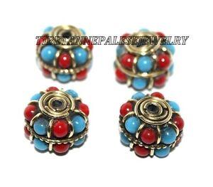 Tibetan Nepalese Handmade coral Turquoise 4 beads Nepal beads Tibetan beads 526
