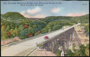 BLUESTONE GORGE Charlton Memorial Bridge Vtg 1940's Car WV Turnpike Postcard Old