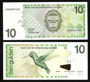 UNC /> Hummingbird 28h P-28 Netherlands Antilles 10 Gulden 2016