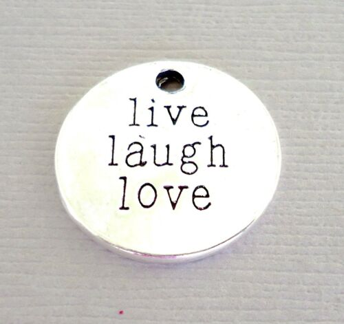 LIVE LAUGH LOVE Tag Pendant Dangle Charms 5 pcs Silver jewelry findings DIY c19