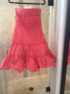 $380 New Nwt Karen Millen Coral Pink Dress Size 8 Ruffle Gorgeous