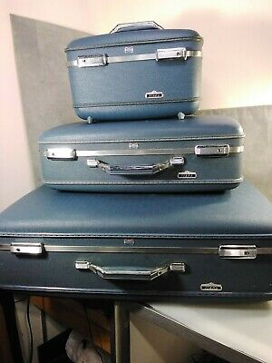 NEW LOWER PRICE Vintage American Tourister Blue  Soft case suit carry on  Train caseOver night
