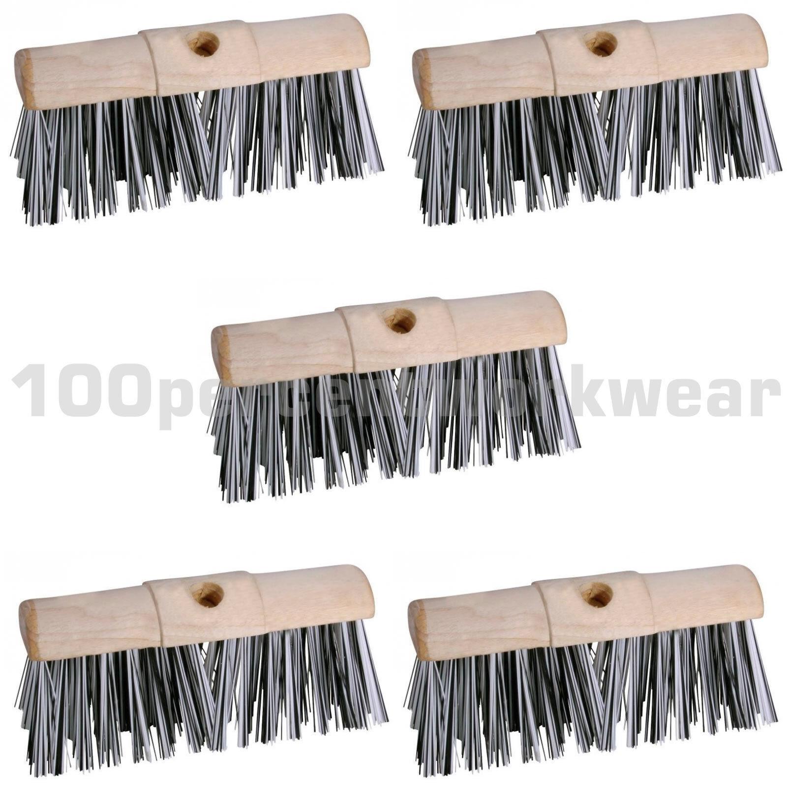 5 x Prodec 13  Scavenger Stiff Bristle Sweeping Broom Head Brush Outdoor Wet Dry
