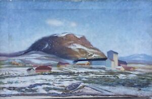Naturalist-Impressionist-Winter-IN-Scandinavia-Boat-At-Shore-Oil-Painting-75X48