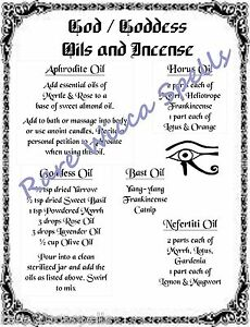 Details about NEW ITEM* God Goddess Magick Oil Recipes 1pg Parch for Wicca  Book of Shadows