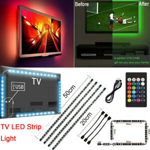 TV-LED-Backlight-4-x-50CM-USB-5050-RGB-LED-Strip-Light-Remote-Kit-5V-30Leds-M