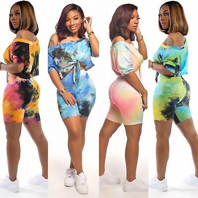 New Stylish Women Short Sleeves Boat Neck Tie Dye Print Tie-front Jumpsuit 2pcs