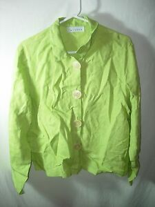 WOMENS-LIME-GREEN-100-LINEN-OVER-BLOUSE-SHIRT-JACKET-CAREER-CASUAL-SIZE-L-48