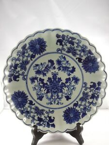 Vintage-Chinese-Blue-Floral-Scalloped-Edge-10-1-4-034-Decorative-Plate