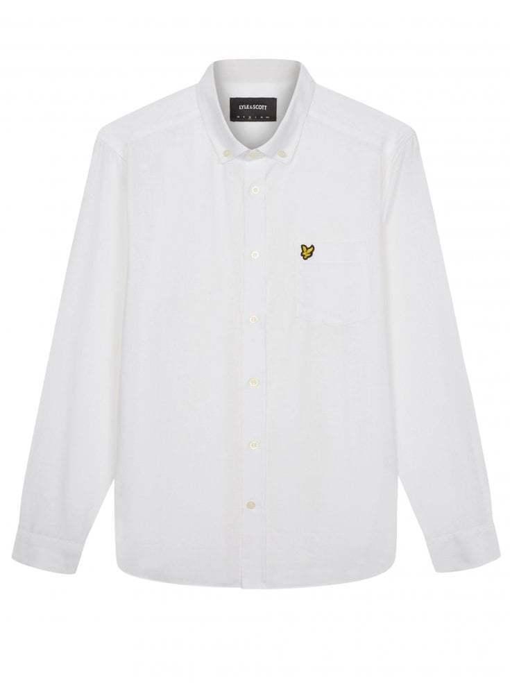 Lyle & SCOTT camicia di lino cotone-bianco